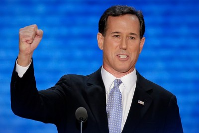 Former Pennsylvania Sen. Rick Santorum addresses the Republican National Convention in Tampa, Fla., on Tuesday, Aug. 28, 2012. (AP Photo/J. Scott Applewhite)