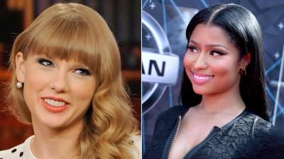 Taylor Swift (left) is seen in this undated file photo. Nicki Minaj (right) arrives at the BET Awards on Sunday, June 28, 2015. (Richard Shotwell/Invision/AP)
