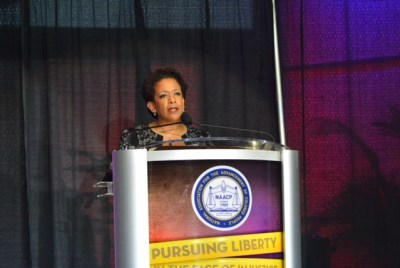 Attorney General Loretta Lynch speaking at NAACP convention in Philadelphia (Photo by Abdul Sulayman/Philadelphia Tribune)