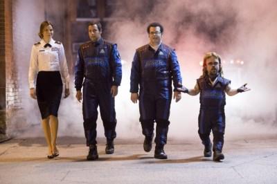 """Michelle Monaghan, Adam Sandler, Josh Gad and Peter Dinklage in """"Pixels."""" (George Kraychyk/Sony Pictures via AP)"""