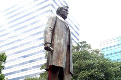 "Red paint drips from the statue of ""Pitchfork"" Ben Tillman, in Columbia, SC (Courtesy Photo)"
