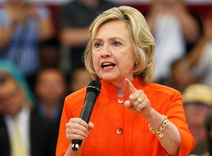 Democratic presidential candidate Hillary Rodham Clinton speaks at a town hall meeting, Tuesday, Aug. 18, 2015, in North Las Vegas, Nev. (AP Photo/John Locher)