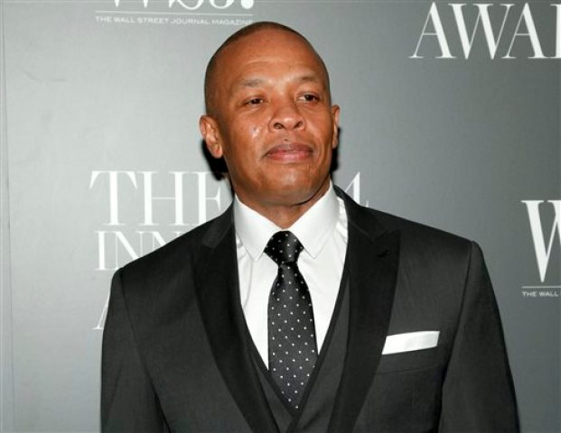 """In this Nov. 5, 2014 file photo, Dr. Dre attends the WSJ. Magazine 2014 Innovator Awards at MoMA in New York. Dr. Dre says he will donate his royalties from his new album to the city of Compton for a new performing arts facility. """"Compton: A Soundtrack by Dr. Dre"""" will be released Friday, Aug. 7. The album was inspired by the N.W.A. biopic """"Straight Outta Compton,"""" in theaters Aug. 14. (Photo by Andy Kropa/Invision/AP, File)"""