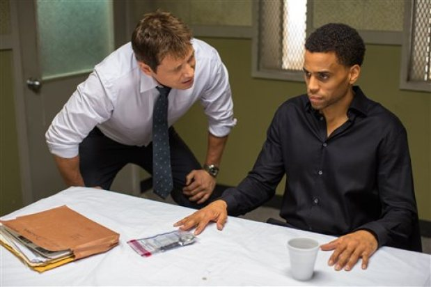 "In this photo provided by Sony/Screen Gems, Holt McCallany, left, as Detective Hansen, interogates Michael Ealy as Carter in Screen Gems' ""The Perfect Guy."" (Dan McFadden/Sony/Screen Gems via AP)"