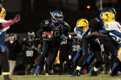 Elijah Keely of Maplewood Richmond Heights carries during a game between Maplewood Richmond Heights High School and John Burroughs School at Maplewood Richmond Heights on Friday, Oct. 19, 2012, in Maplewood. (STLToday.com)