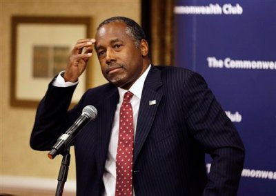 Republican presidential candidate retired neurosurgeon Ben Carson answers questions at a news conference after speaking to the Commonwealth Club public affairs forum Tuesday, Sept. 8, 2015, in San Francisco. (AP Photo/Eric Risberg)