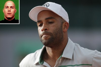 Officer James Frascatore (inset) is accused of slamming former tennis star James Blake to the floor. (AP Photo)