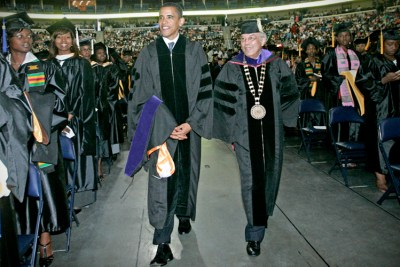 U.S. Sen. Barack Obama, D-Ill., left, and Norman C. Francis, president of Xavier University of Louisiana are seen during the processional at the annual commencement program for Xavier University of Louisiana in New Orleans on Saturday, Aug. 12, 2006. Obama, also received an honorary Doctor of Laws degree. (AP Photo/Judi Bottoni)