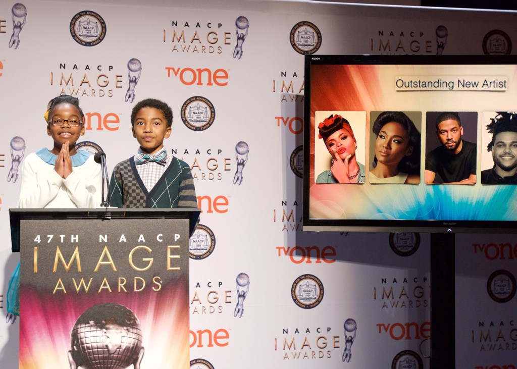 "Marsai Martin (left) and Miles Brown, two of the stars from the ABC sitcom ""black-ish"" announce nominees for 47th NAACP Image Awards during a recent press conference. (Earl Gibson III/NAACP)"