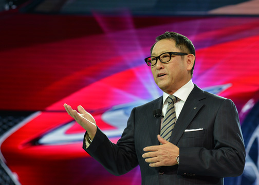 Akio Toyoda, the chief branding officer and master driver for Lexus talks about the LC 500 during a press conference about the all-new coupe at the North American International Auto Show in Detroit, Mich. (Freddie Allen/AMG/NNPA News Wire)