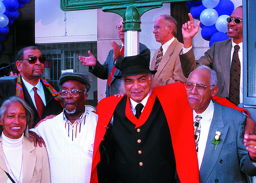 Carl Matthews (2nd from right) with other sit-in participants at the state historic marker for the sit-in. Matthew's led the local lunch counter protest in 1960 that became North Carolina's first victory for the sit-in movement. (FILE PHOTO/WSC)