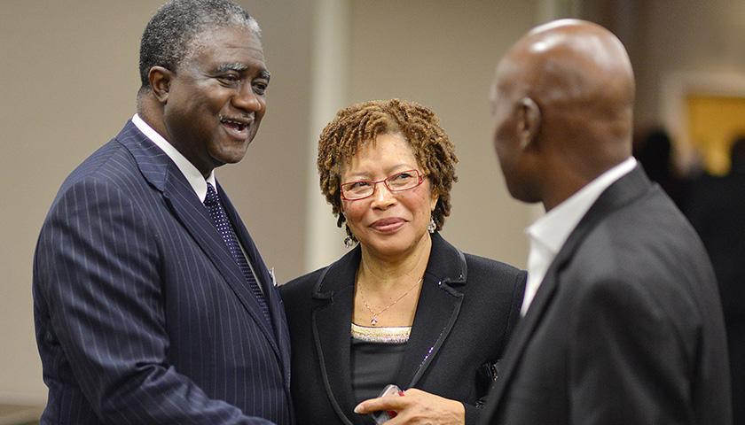 Veteran journalist George Curry (left) and Ann Ragland attend an NNPA reception during the Congressional Black Caucus Annual Legislative Conference in Northwest Washington, D.C. in 2014. (Freddie Allen/AMG/NNPA)