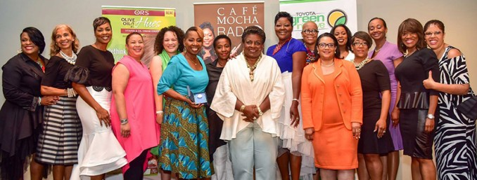 Café Mocha Radio, Toyota and ORS Hair Care honors phenomenal women in Washington, DC. Left to Right: YoYo, Carol Dudley, Micheline Bowman, ORS Hair Care rep, Shawn Tollerson (of Namaste Laboratories, LLC, Iyanla Vanzant, Johnna Gause—ORS, Cora Masters Barry, Wanda Durant, Maisie Dunbar, Carla Reid, Jerri Evans, Mo Ivory, Alva Adams Mason—Toyota, Angelique Perrin and Café Mocha executive producer Sheila Eldridge. (Eclipse Photography)