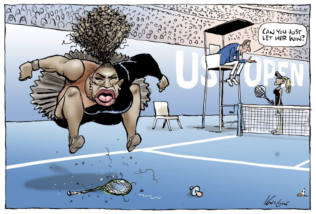 This Mark Knight cartoon published by the Herald Sun depicts Serena Williams as an irate hulking big-mouthed Black woman jumping up and down on a broken racket. The umpire was shown telling a blond slender woman — meant to be Naomi Osaka who is