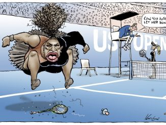 """This Mark Knight cartoon, published by the Herald Sun, depicts Serena Williams as an irate, hulking, big-mouthed Black woman jumping up and down on a broken racket. The umpire was shown telling a blond, slender woman — meant to be Naomi Osaka, who is actually Japanese and Haitian — """"Can you just let her win?"""""""
