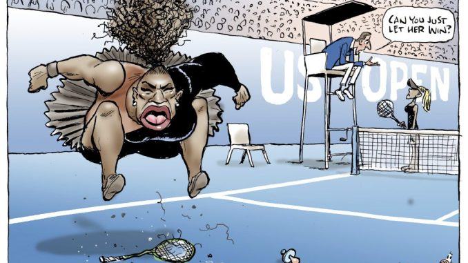 "This Mark Knight cartoon, published by the Herald Sun, depicts Serena Williams as an irate, hulking, big-mouthed Black woman jumping up and down on a broken racket. The umpire was shown telling a blond, slender woman — meant to be Naomi Osaka, who is actually Japanese and Haitian — ""Can you just let her win?"""