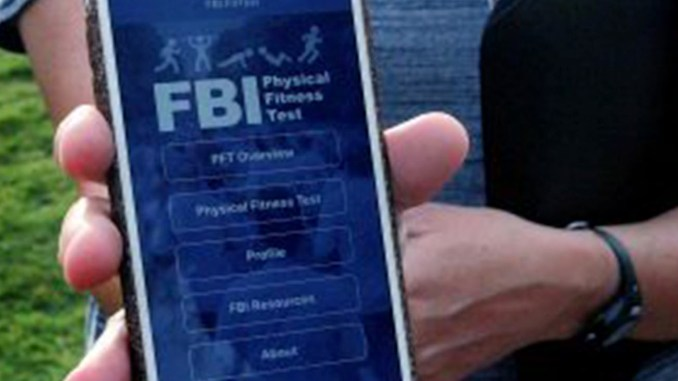 Caption There is a new app available to the public from the FBI which allows potential future applicants, or those simply interested in grading themselves by FBI standards, to prepare for the Physical Fitness Challenge administered as part of the entry process. Alt Text Description