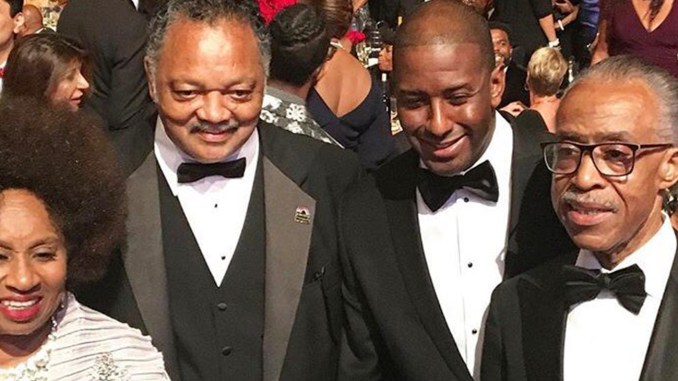 Rev. Jesse Jackson and wife, Jackie, share a moment with Florida Gubernatorial Candidate Andrew Gillum and the Rev. Al Sharpton at the CBCF Phoenix Awards Dinner. Jackson was honored with a Lifetime Achievement Award/Courtesy NAN