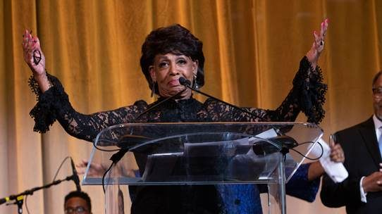 """In her typical fiery but still eloquent way, Waters spoke passionately about her and other Democrats' mission to impeach President Donald Trump – though, like all of the recipients, she never mentioned the president by name only referring to him as """"Number 45."""""""