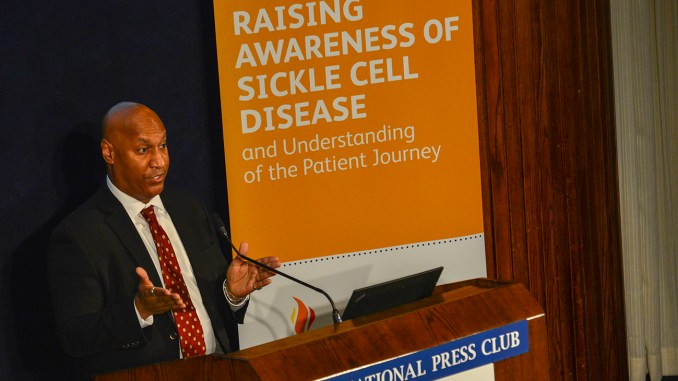 Dr. Kevin Williams, chief medical officer of Pfizer Rare Disease, presenting on raising awareness of sickle cell disease at the National Press Club, Washington, DC. (Photo: NNPA)