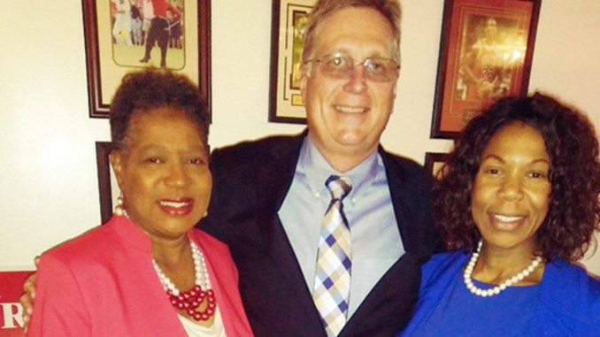 Brenda Gilmore with daughter Erica Gilmore and Randy Button of the Capitol Strategy Group. (photo D. Culp)