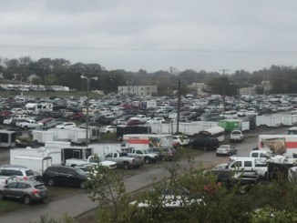 Cars parked for the big October Flea Market where Metro wants to build new Expo buildings. That will reduce parking even more than the 20 acres of parking converted into playing fields alongside Brown's Creek and Craighead St. Photo by Shane Smiley.