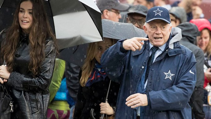 Dallas Cowboys owner Jerry Jones prior to the start of the game against the Washington Redskins at FedEx Field on October 29, 2017 in Landover, Maryland.