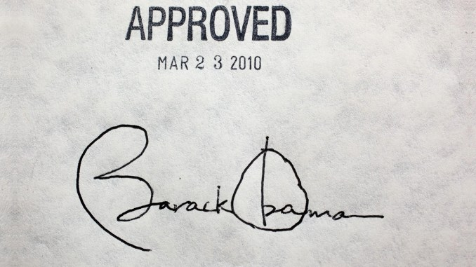 Former President Barack Obama's signature on the health insurance reform bill, March 23, 2010. (Photo: WOSU Radio – WOSU Public Media)