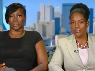 Crystal Mason, the Black Texas Mother Facing 5+ Years in Prison for Voting in the 2016 Election, and attorney Kim Cole (Photo Source: Democracy Now!)