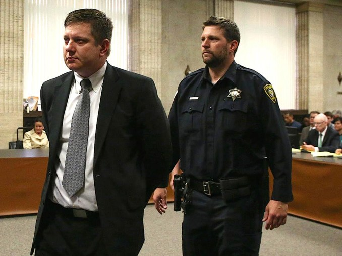 His convictions could put the murderer behind bars for the rest of his life if Judge Vincent Gaughan brings down the hammer at Jason Van Dyke's sentencing on Halloween, October 31. (Photo: Trial Press Pool Photo)