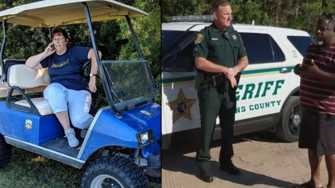 """Golfcart Gail"" (l), who reportedly served as a feild marshall at a youth soccer game in Ponte Vedre, Fla., called the police on soccer dad, Gerald Jones (r), as he shouted to his son from the sidelines. (Screengrabs from Facebook video posted by Ginger Galore Williams)"