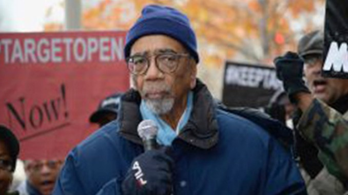 U.S. Congressman Bobby Rush speaks at a rally in front of the South Loop Target on Nov. 12, 2018. photo by Parthenia Luke
