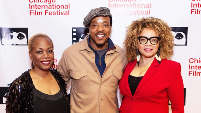 """Regina Taylor, Russell Hornsby (""""The Hate You Give"""") and Ruth Carter pose for photo during red carpet event. (Photos courtesy Cinema Chicago)"""