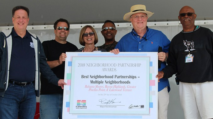 Councilmember Steve Cornell (left) presented the 2018 Neighborhood Partnership Award to the Greater Pinellas Point Civic Association, Bayou Highlands, Bahama Shores and Lakewood Terrace Neighborhood Associations for organizing the truck rallies. L-R, Kenneth Conklin (Lakewood Terrace), Barbara Ellis, Danny White (Greater Pinellas Point Civic Association) Walter Borden (Bahama Shores) and Norm Scott (Bayou Highlands)