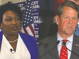 Democrat Stacey Abrams, candidate for Govenor of Georgia and her opponent Brian Kemp, current Georgia Secretary of State.