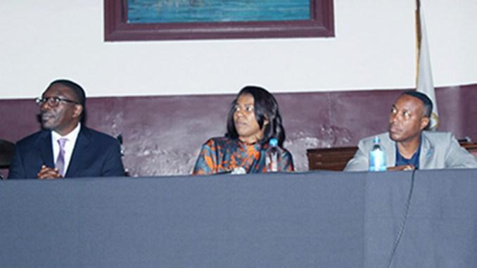 l-r; Dr. Shawn Joseph, Metro Schools Director; Dr. Sharon Gentry, Metro Nashville Public School Board Chair; and Dr. Kevin Rome, President, Fisk University