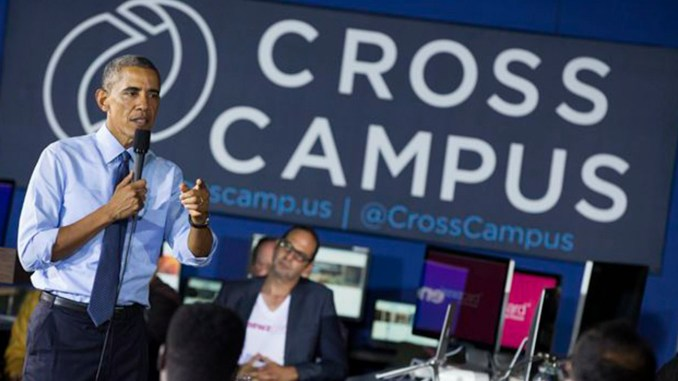 President Barack Obama tours Cross Campus, a collaborative space that brings together freelancers, creative professionals, entrepreneurs and startup teams, on Thursday, Oct. 9, 2014, in Santa Monica, Calif