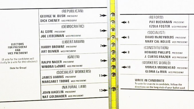 Official ballot for the 2000 United States Presidential election, November 7, 2000, from Palm Beach County, Florida. (Photo source: Wikimedia Commons)
