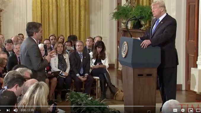 CNN's Jim Acosta was the victim of Trump's ire. Because he was persistent in asking a question, he was falsely accused of putting his hands on someone, and his White House press pass was revoked.