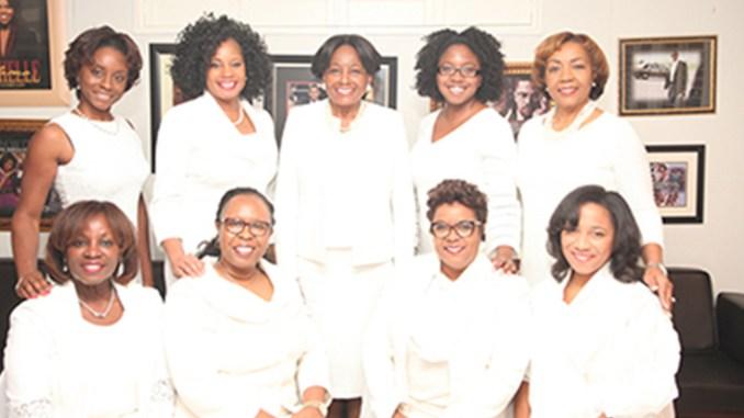 Seated l-r; Delores Gardner Stokes, Coretta Dillard Dawkins, Sondrea Tolbert and Stephanie Williams; Standing l-r; Cherelle Lans, Ms. June Michaux, Gwen Brown-Felder, Candace Waller and Belinda Teamer Webb