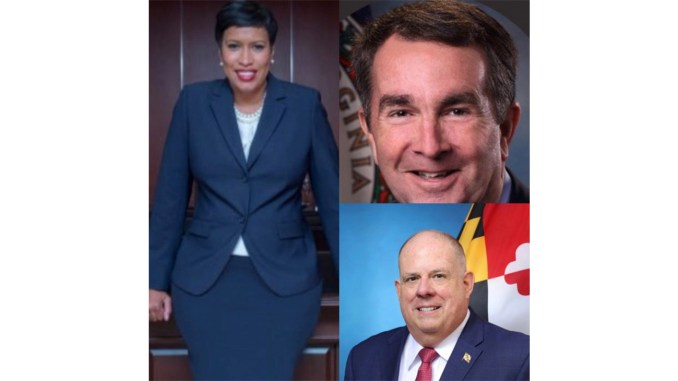 D. C. Mayor Muriel Bowser, Md. Gov. Larry Hogan and Va. Gov.Ralph Northam are calling for Trump to end government shutdown. (Courtesy Photos)
