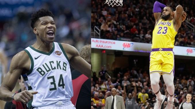 (l-r) Giannis Antetokounmpo and LeBron James