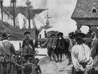"""This drawing, """"Landing Negroes at Jamestown from Dutch man-of-war, 1619,"""" chronicles the first 20 African slaves arriving in Jameston, Virginia."""