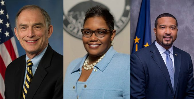 Congressman Pete Visclosky, Mayor Karen Freeman-Wilson, and Senator Eddie Melton (Photo by: chicagofcrusader.com)