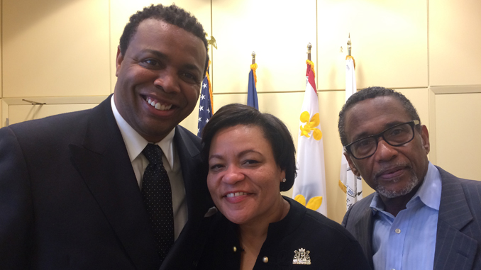 (l-r) New Orleans Data News Editor Edwin Buggage, New Orleans Mayor Latoya Cantrell, and New Orleans Dataa News Publisher, Terry Jones. (Photo by: ladatanews.com)