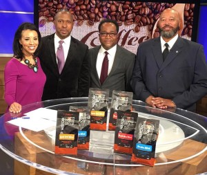Childhood Friends and Historic Noir Coffee Group owners Christopher Brown (l), Deron Moreman (c) and Ricardo Richardson (r) are interviewed by CBS 46's Trayce Hutchinson. (Photo Credit: Christopher Brown)
