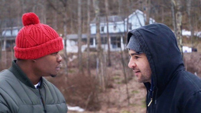 """JASON MITCHELL AS Tyler and Christopher Abbott as Johnny have a few words during a scene from the movie """"Tyrel."""""""