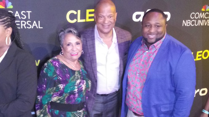 """Urban One Founder Cathy Hughes (left) with Urban One President and CEO Alfred Liggins III (Center) and Cleo TV """"New Soul Kitchen"""" Star Chef Jernard Wells"""