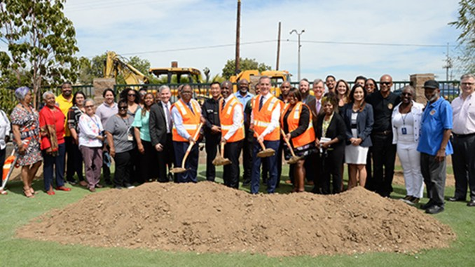 04-08-2019, Councilmember Marqueece Harris-Dawson, Mayor Eric Garcetti, and Supervisor Mark Ridley-Thomas attend Bridge Home Ground Breaking at 5965 St. Andrews Place in South Los Angeles.