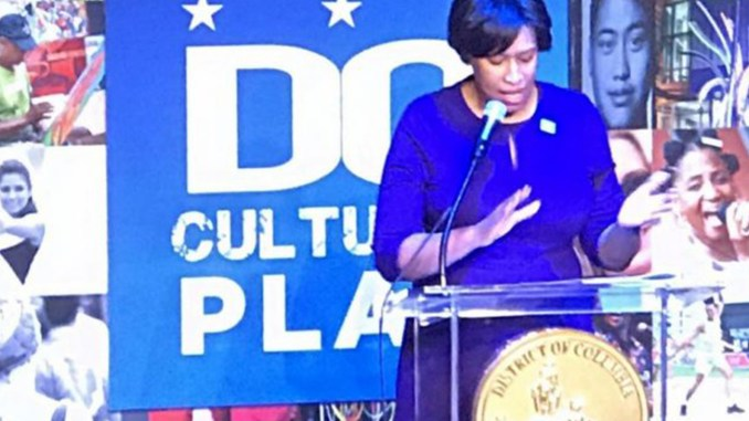Mayor Bowser rolls out DC Cultural Plan at the launch event on April 4. (Photo by George Kevin Jordan)
